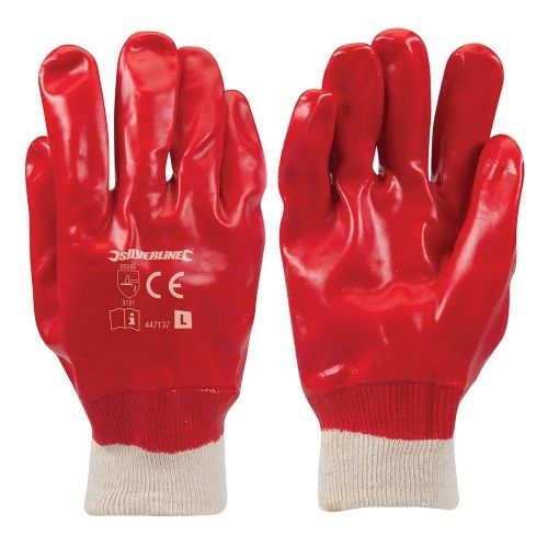 Silverline 447137 Red PVC Safety Work Gloves Large